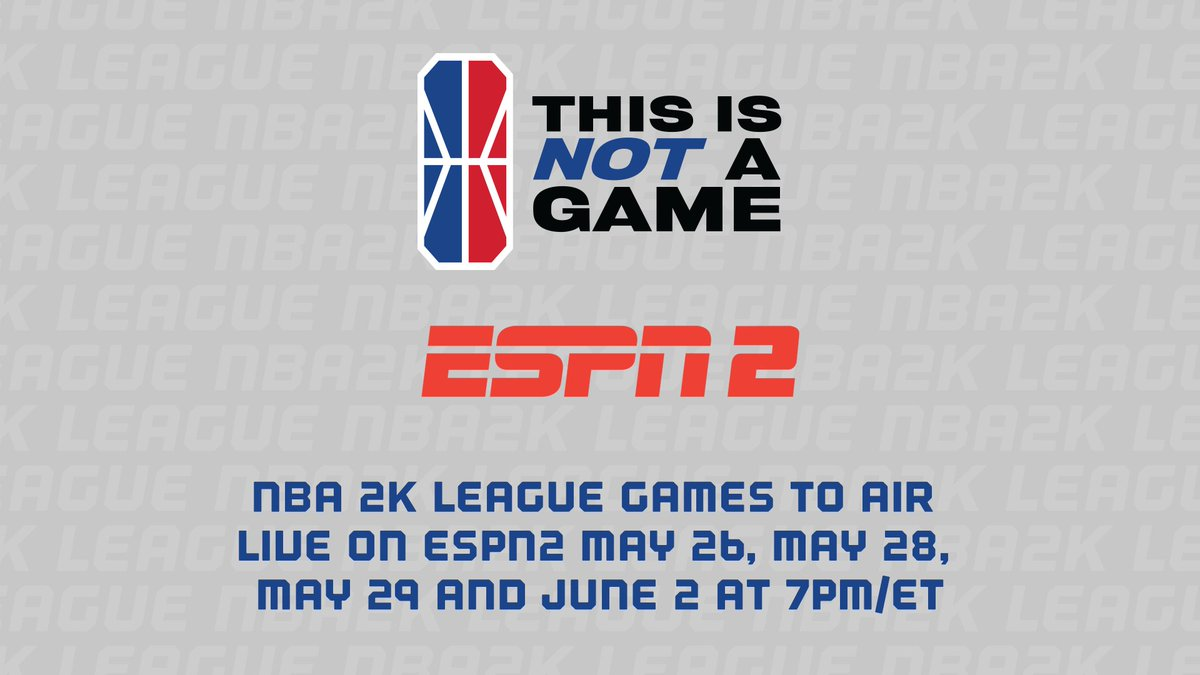 Incoming exciting news! 👀  You'll now be able to watch NBA 2K League games on ESPN2 tonight, Thursday, Friday AND next Tuesday! 🔥  Tonight's action tips off at 7 pm/et. https://t.co/i2vyb6sExk