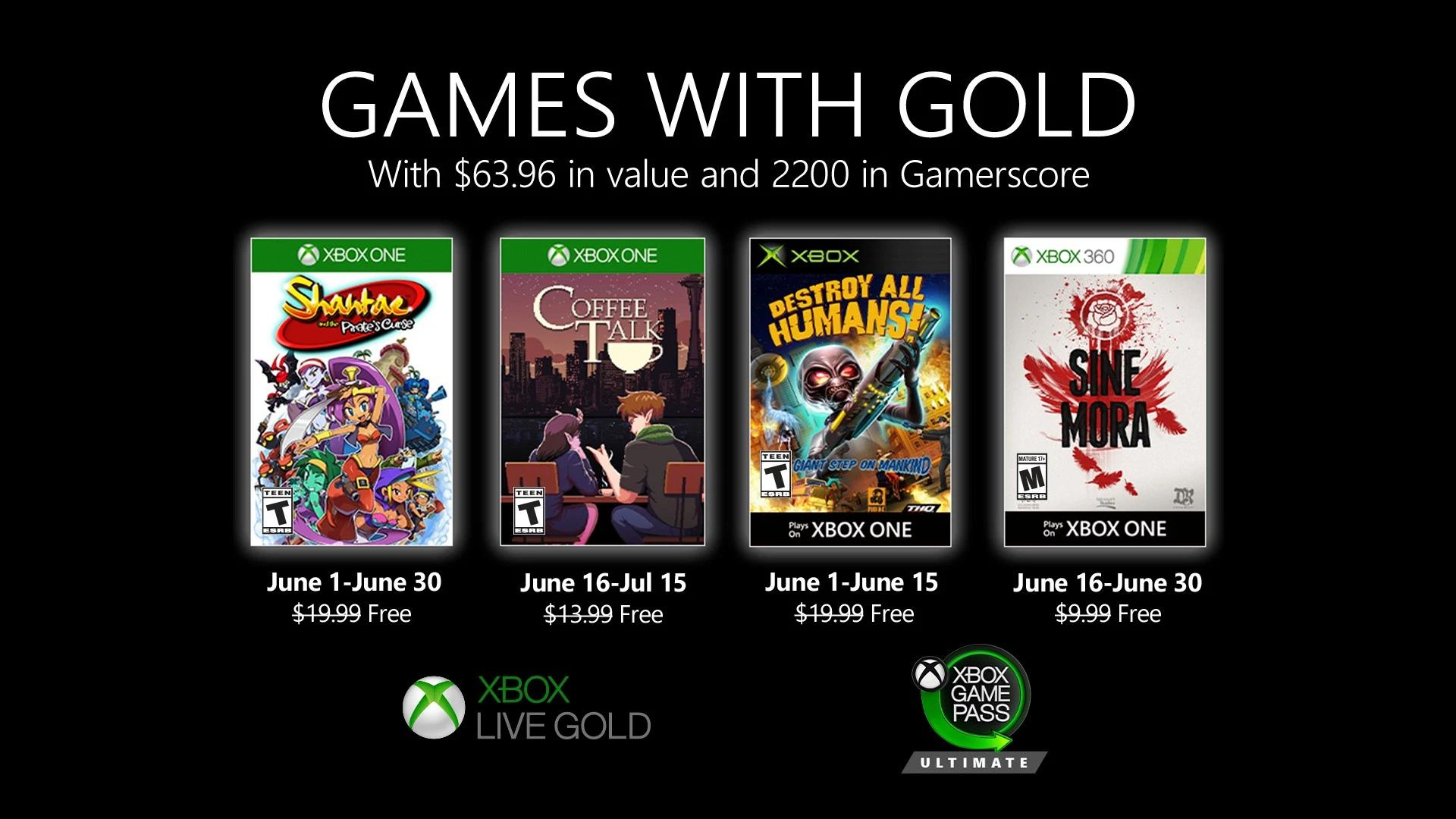 Xbox Live Games with Gold June 2020