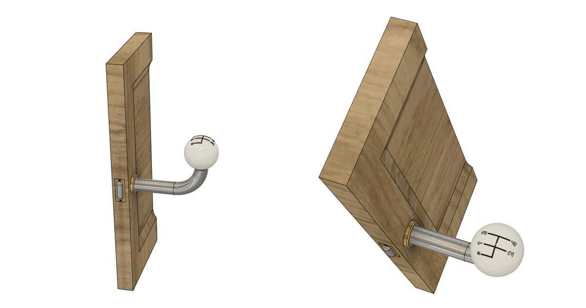 Let's move to more results to our #3Ddesign challenges, this time for on we the Door-knobs one!  Stephan Mondini sent us a nice gear shift inspired doorknob, thanks for this creation!  Take the challenge here: