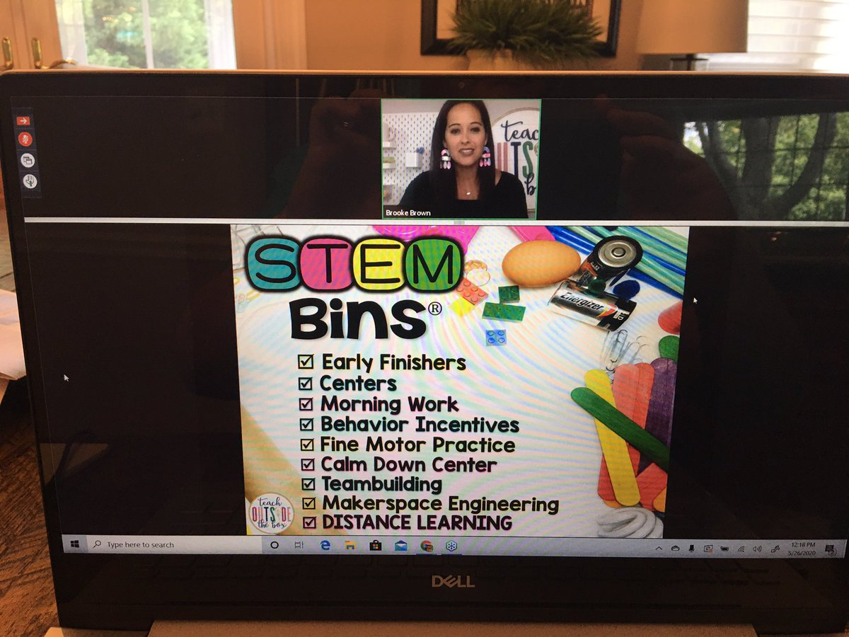 Attending @brookebrownTOTB webinar on @hand2mind STEM Bins: Engineering Through Play.