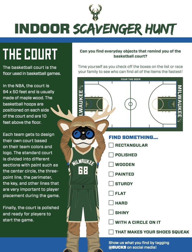 Help @BucksBango complete his indoor scavenger hunt!  ✅ Print your checklist at https://t.co/57nPOIZ42U https://t.co/5h4aQbjR7d