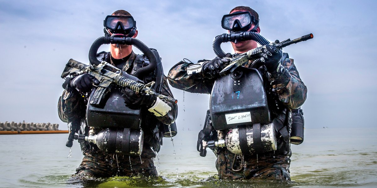 Hold Your Breath A @USNavy corpsman (left) and a Marine assigned to 3rd Reconnaissance Battalion, 3rd Marine Division, participate in a Combat Diving Supervisors Course on Camp Schwab, Okinawa.