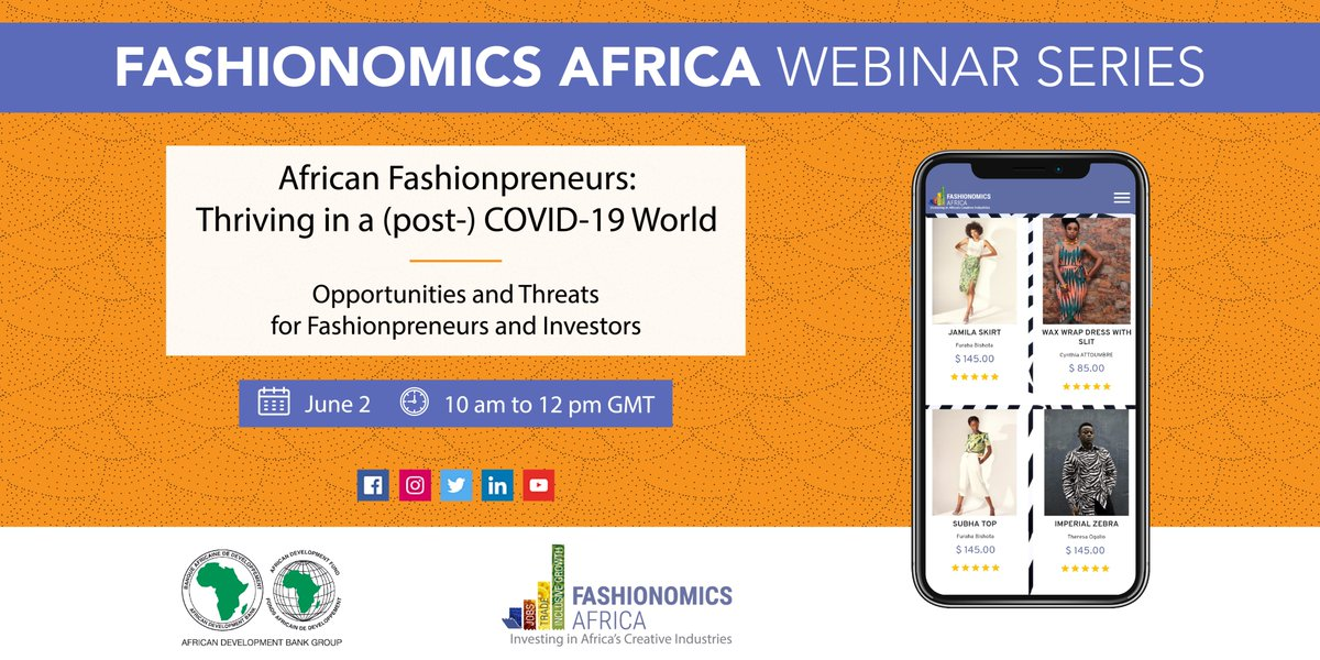 Are you an African #Fashionpreneur looking for the best platform to talk about #AfricanFashion? The @AfDB_Group #FashionomicsAfrica is launching its Webinar Series on June 2. Sign in NOW  https:// bit.ly/3gq2nbS    ! Registration is free!<br>http://pic.twitter.com/2Z7gG5kjBu