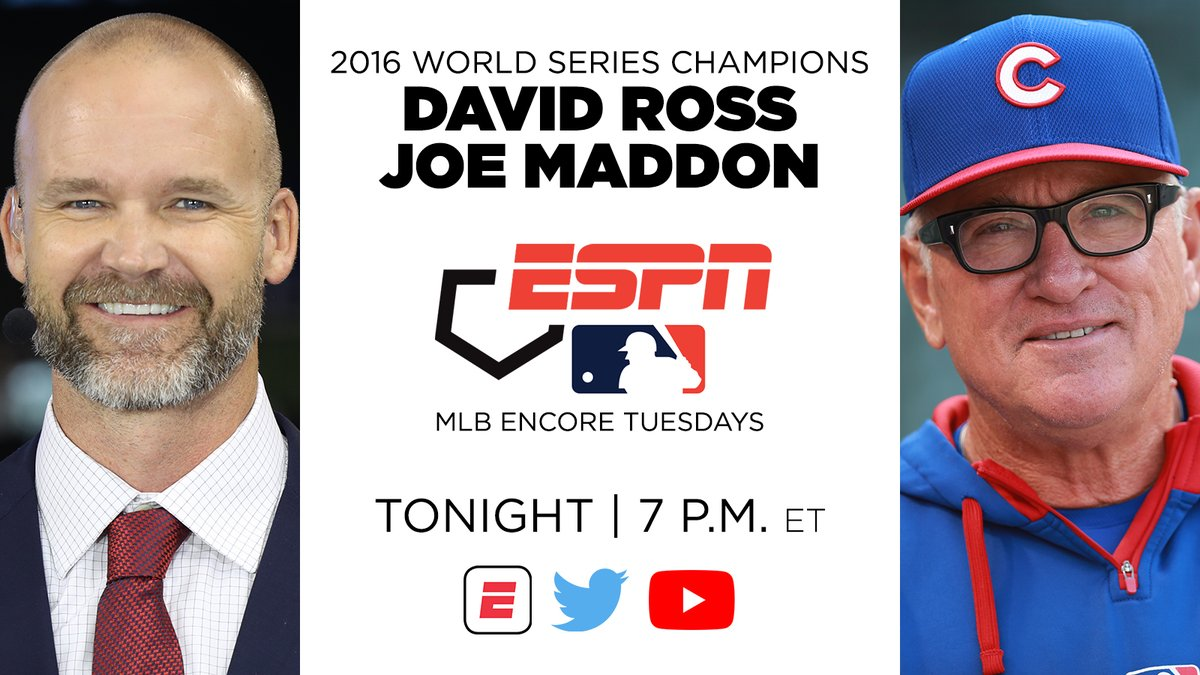 Tonight, 2016 World Series Champions @D_Ross3 & @MaddHalos join ESPNs #MLB Encore Tuesday presentation of Game 7 of the 2016 World Series BBTN Live | 6:30 p ET | ESPN App, Twitter & YouTube @Cubs vs. @Indians encore | 7 p ET | ESPN, ESPN App More: bit.ly/2TGJUxT