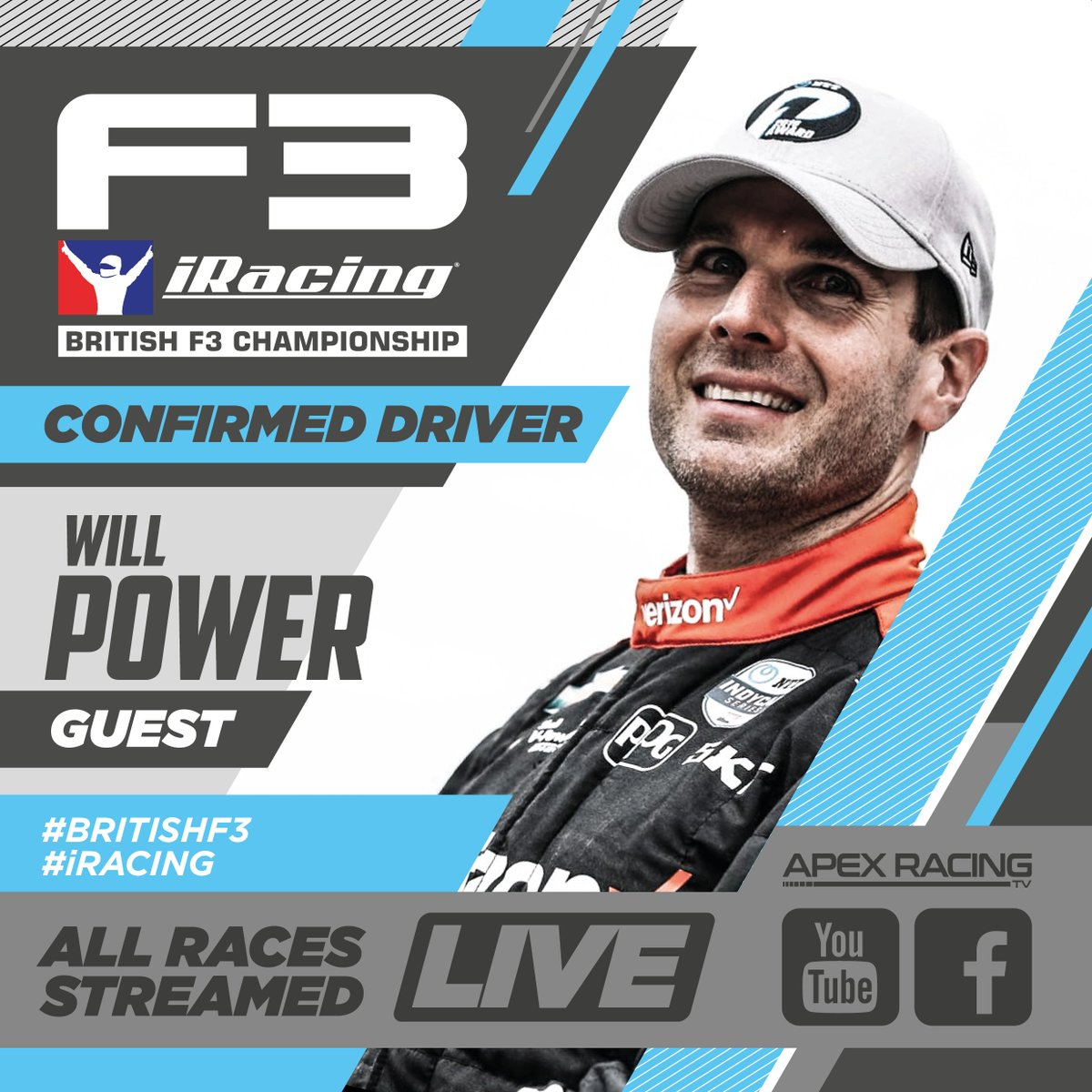 Our guest driver for this Sundays British F3 iRacing Championship visit to Silverstones Grand Prix circuit is IndyCar star and 2018 Indianapolis 500 champion @12WillPower, who raced in the original British F3 in 2003/4. You wont want to miss this one! #iracing