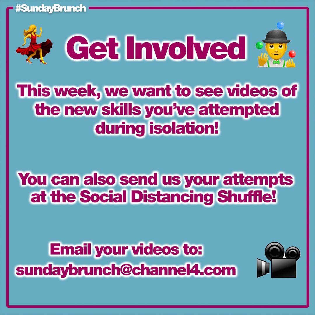 Keep sending us videos of your new skills and your attempt at the Social Distancing Shuffle for a chance to appear on #SundayBrunch this week pic.twitter.com/uzVuF2Vdue