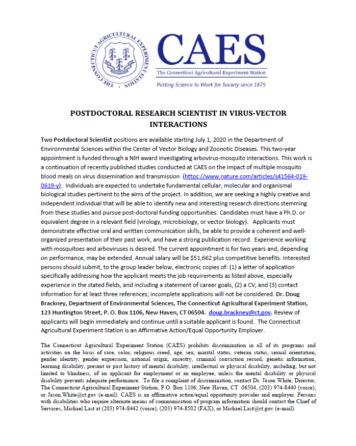 It's official Phil Armstrong and I are recruiting two post-doctoral fellows to study virus-vector interactions. If interested DM me or apply following the instructions in the job announcement. Please re-tweet. Thanks. https://t.co/Ygn7hufOik