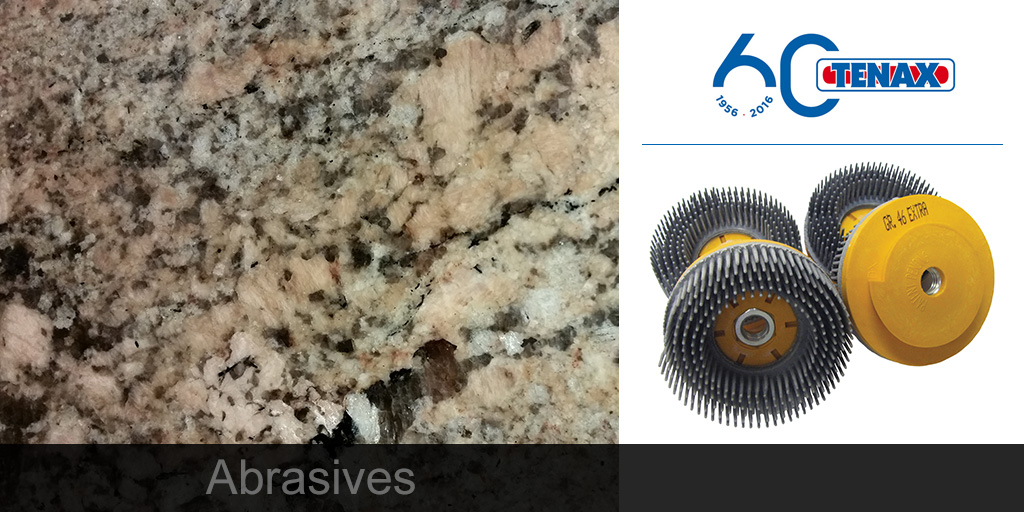 Granite and Quartz snail lock Airflex and Filiflex brushes for #texturing or #finishing #stone.