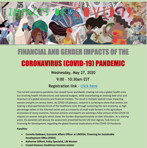 The Women's Working Group on FfD presents: Financial and Gender impacts of the Coronavirus (COVID-19) pandemic. Wednesday, May 27, 2020 9:00 – 10:30am EST Registration link: https://bit.ly/36G3Eat pic.twitter.com/dXpQImf4Oy