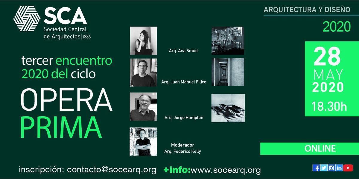 ¿TODAVIA NO TE ANOTASTE? ¡HACELO YA!  Opera Prima 2020: Ana Smud, Juan Manuel Fliice y Jorge Hampton   Enviá un correo a: contacto@socearq.org y recibí el enlace para acceder a la conferencia.  ¡TE ESPERAMOS!  +info: http://socearq.org/2.0/?p=52444  #sca #quedateencasa #conferencias pic.twitter.com/1m3IhjmmHv