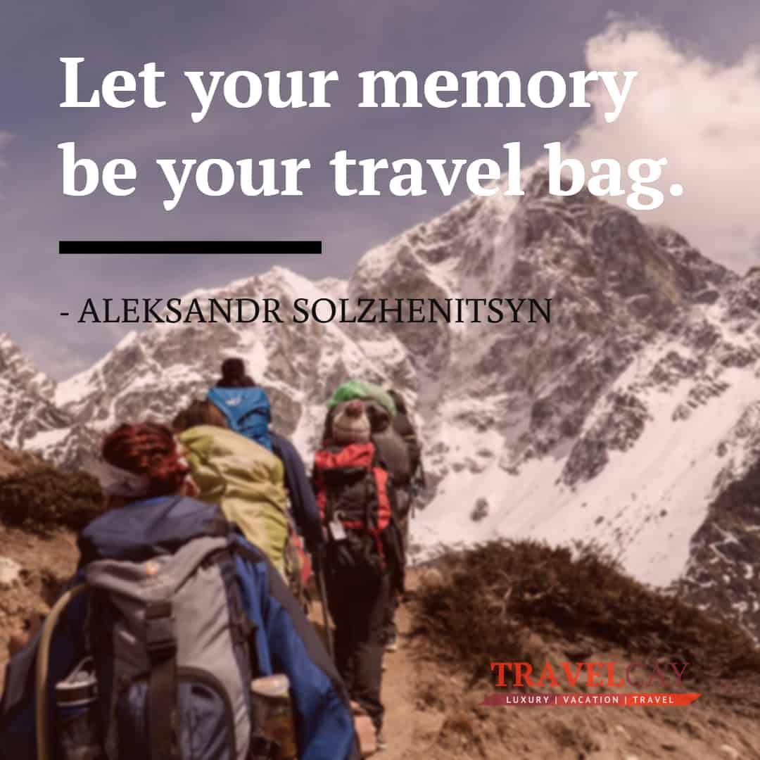 Let your memory be your #Travel bag - ALEKSANDR SOLZHENITSYN #Atraveldiary #LuxuryTravel #Travelabout #Travelers #Travelholic #Travelingalone #Travellers #Travellolife #Travelltales #Wanderlust https://t.co/ItmeMTleJN https://t.co/BD48JhsEVj
