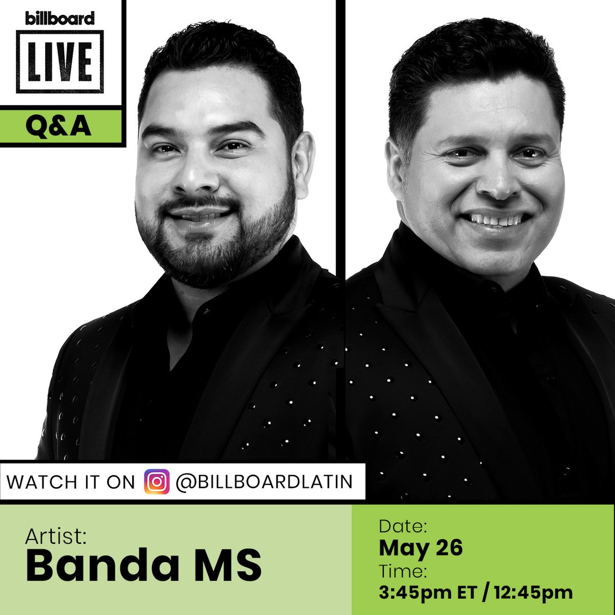 .@BANDA_MS will be joining us for a #BillboardLive Q&A today! Tune in at 3:45pm ET/12:45pm PT to watch: trib.al/9qfF8Ac
