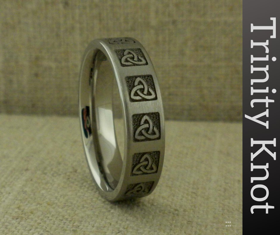 Custom Wedding Rings: this one is Titanium with Trinity Knots  #WeddingRings # WeddingBand #CustomWeddingRing