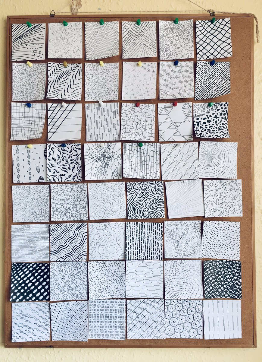 For the last 48 days I've been drawing random patterns daily on small bits of paper. I've now filled up my whole notice board.   #DailyDrawing  #WilsonsRandomPatternspic.twitter.com/tp7KVWajiy