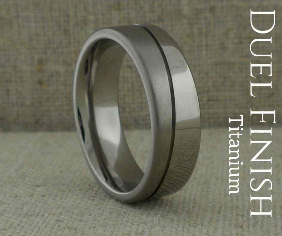 Titanium Wedding Ring with Diagonal Grooves and Two Finishes  #weddingRings #mensWeddingRing #titaniumWeddingRings