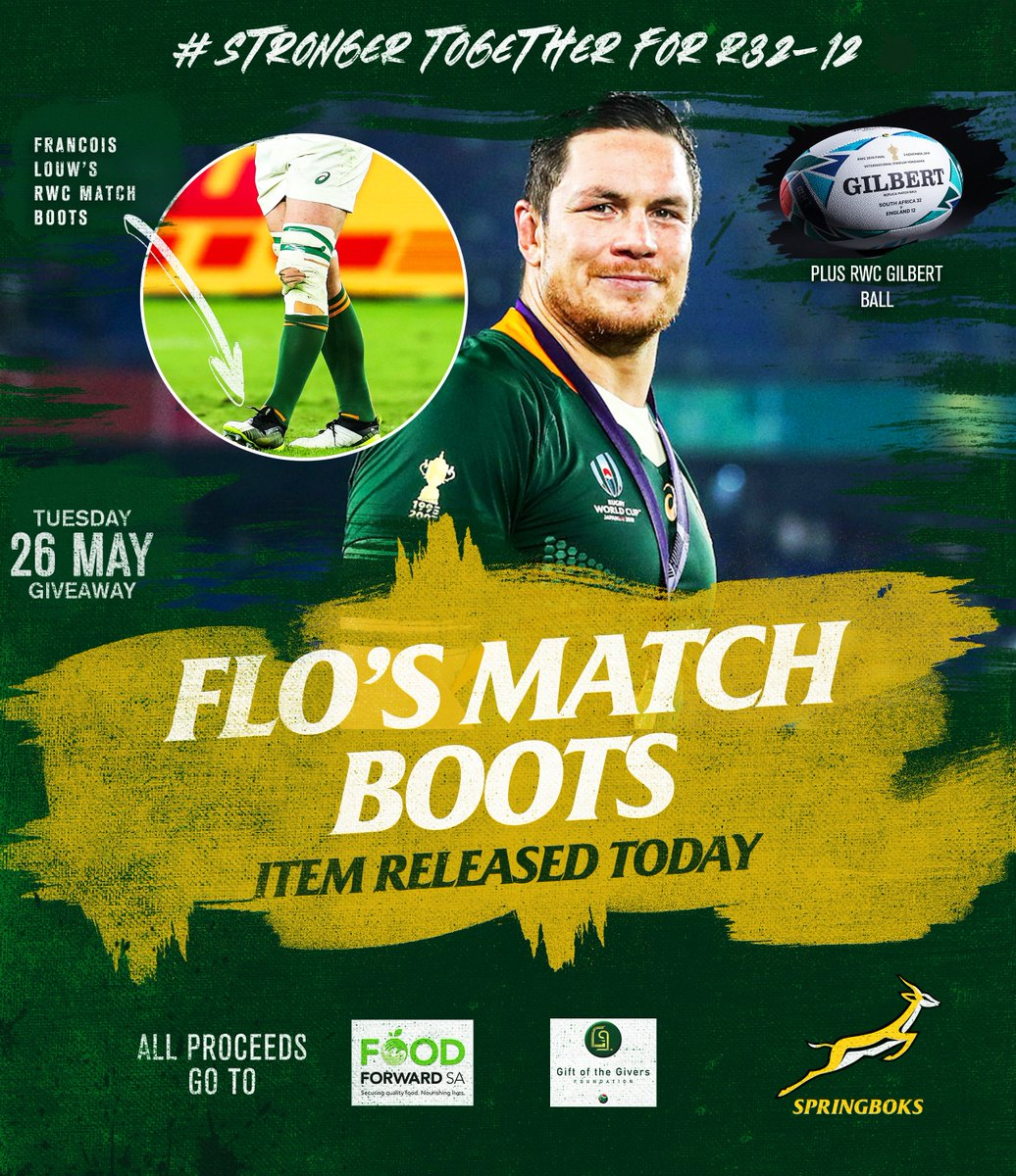 Hes one of the best in the business at the breakdown...and his RWC match boots could be yours for just R32-12. All proceeds go towards feeding a hungry family affected by COVID-19. Buy a ticket here: bit.ly/3cM5xo5 Todays items...Flos Match Boots + A RWC GILBERT BALL