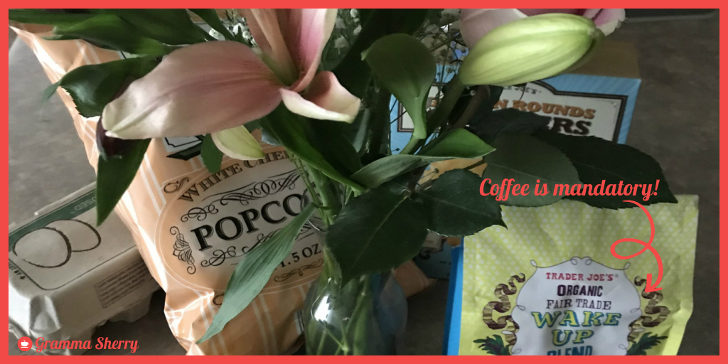 #groceryshopping I needed a few essentials for home @traderjoesDPU; I did add a few extras in my cart:flowers & popcorn aren't mandatory per se.  #Coffeetime  But, coffee IS mandatory!   Can't wait to try the Wake Up Blend.  #KindnessMatters  Here's to a great day!pic.twitter.com/ebOfFOm6PZ