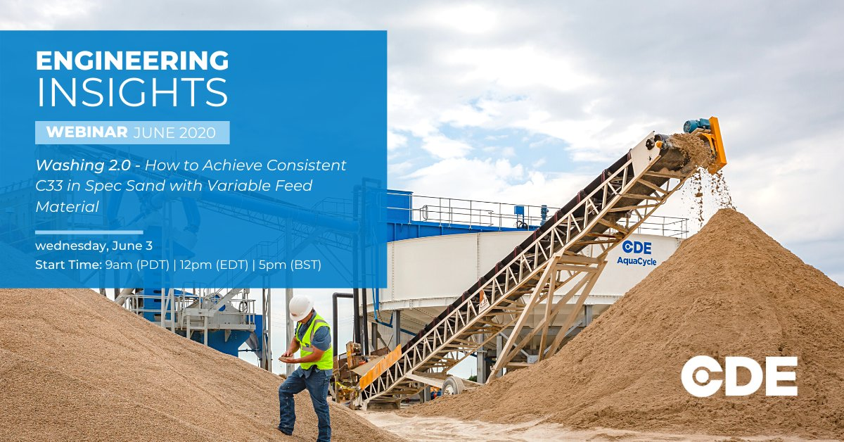 Our #EngineeringInsights webinars continue next week with our washing 2.0 series - 'How to achieve consistent C33 in spec sand with variable feed material'.   Weds, June 3   12pm (EDT) | 5pm (BST)  https://hubs.ly/H0qRlXH0   #WashingWorks #WebinarWednesday #Sustainabilitypic.twitter.com/BjatlgnNRn