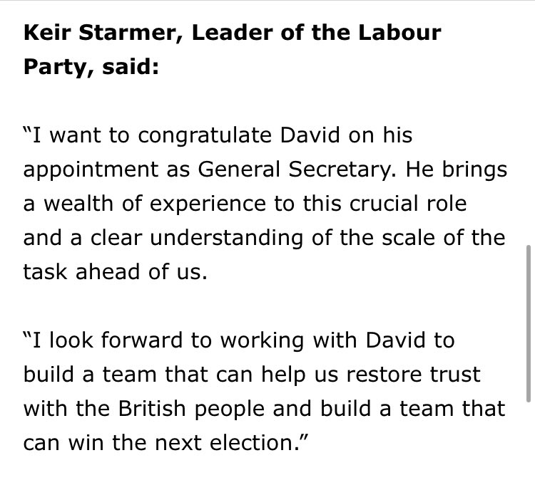 Former assistant general secretary under Tony Blair, he beat Left candidate Byron Taylor. Backroom transformation of the party under Starmer has begun more swiftly than many thought. Here's his statement: