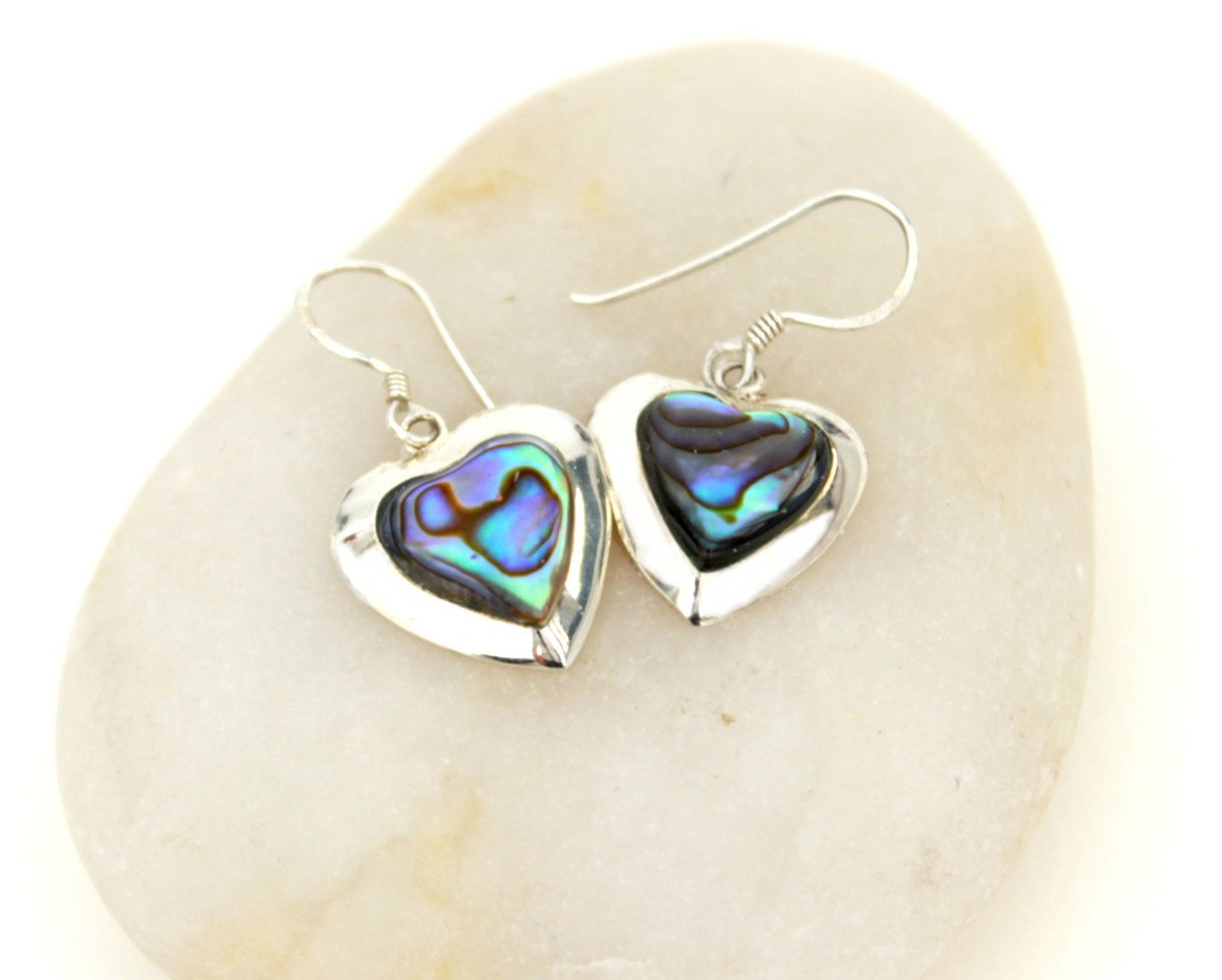 Excited to share the latest addition to my #etsy shop: Cute Earrings, Silver Dangle Earrings, Heart Earrings, Dangle Earrings, Silver Earrings, Abalone Shell Earrings, Small Earrings  #pearl #earlobe #bohohippie #earwire #shell #no #girls #blue #