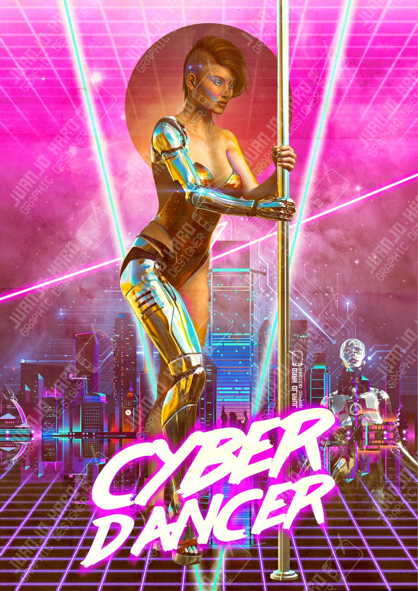My first #synthwave poster available soon as #merchanding.  #graphicdesigner #graphicdesign #diseñador #diseño #diseñografico #poster #cartel #retro #vintage #newretrowave #vapourwave #cyberpunk #cyborg #robot #poledance #poledancer #pole #dancer #femalepic.twitter.com/YnTF02kXnd