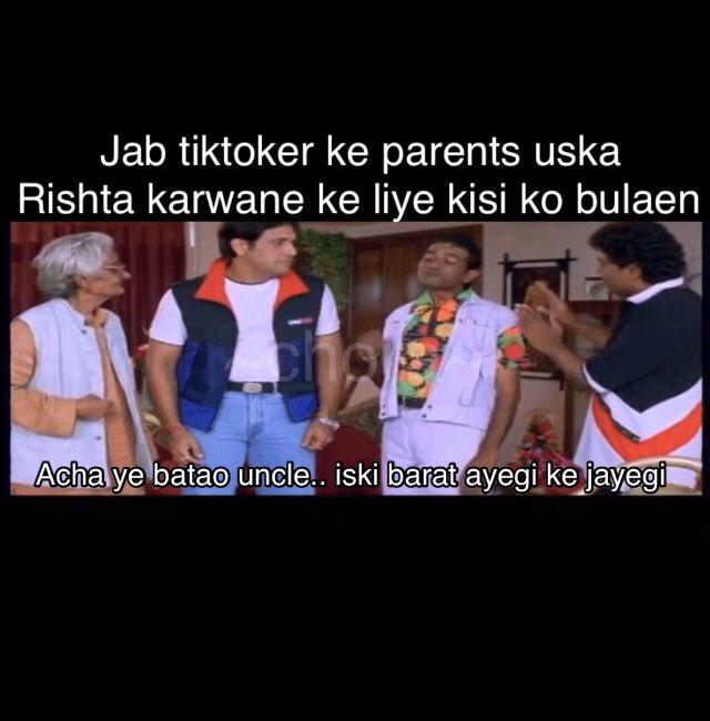Jab #tiktoker apne parents ko shadi ka bole #TikTok #funny #funnymemes #Memes #tiktokmemes https://t.co/Buv6udqquu