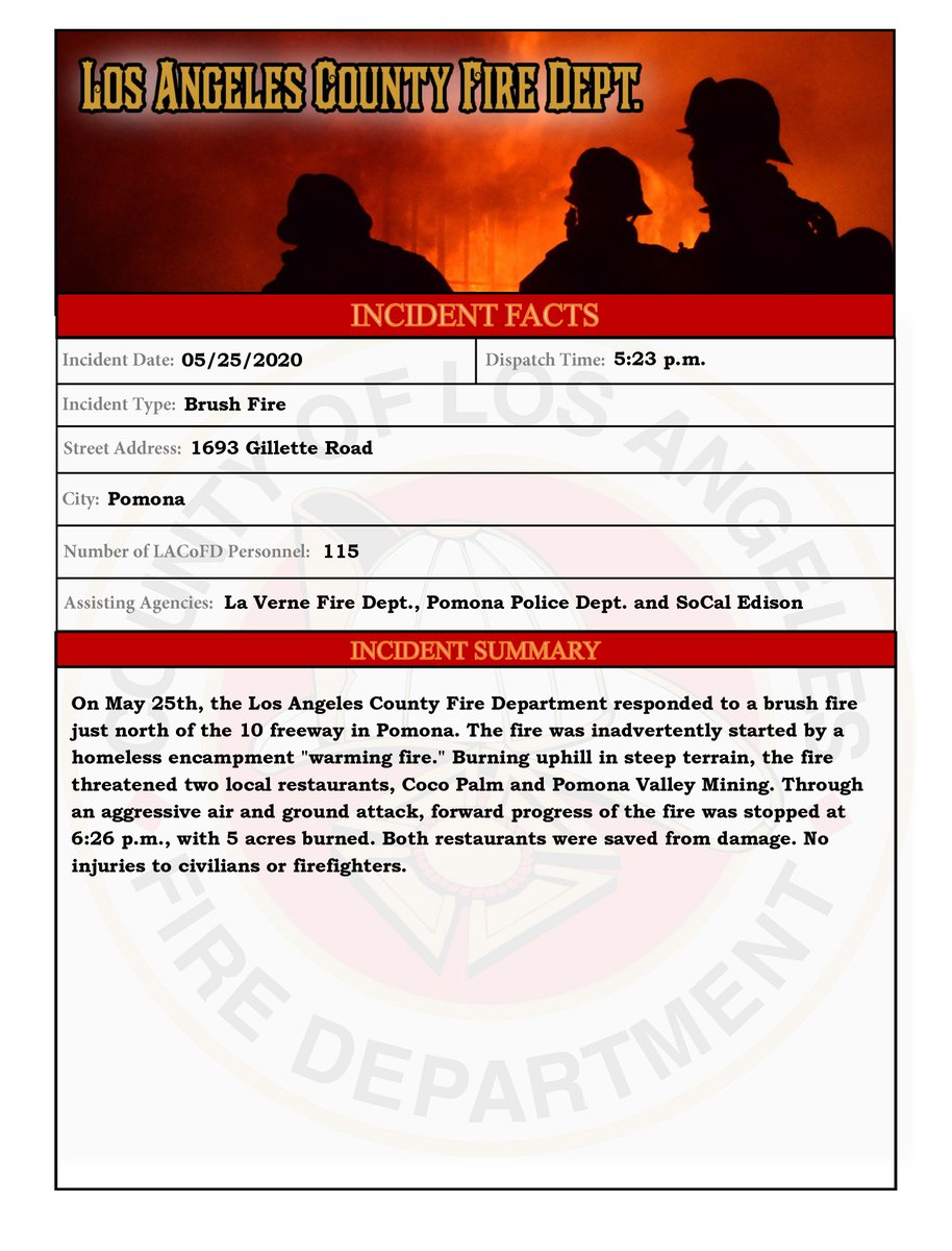 Image posted in Tweet made by L.A. County Fire Department on May 26, 2020, 5:55 pm UTC