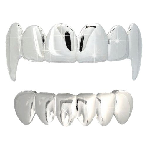 All Shiny Vampire Fang Grillz Top & Bottom Set! FREE SHIPPING (USA) OVER $75  #blingbling #hiphop #hiphop #style #money #cash #jewels #luxury #blingbling #bling #jewelry #newbling #newstyle #save #money #cheap #clearance #hip #Badbunny