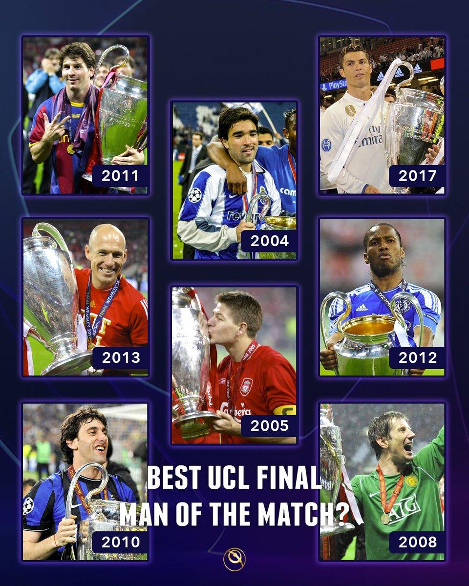 Who's the best #UCL Final 𝑴𝒂𝒏 𝑶𝒇 𝑻𝒉𝒆 𝑴𝒂𝒕𝒄𝒉 ?  Messi (2011) Deco (2004) Cristiano Ronaldo (2017) Robben (2013) Gerrard (2005) Drogba (2012) Diego Milito (2010) Van der Sar (2008)  #Messi #Deco #CR7 #ArjenRobben #StevenGerrard #Drogba #DiegoMilito #VanderSarpic.twitter.com/vmUPpXG8hr
