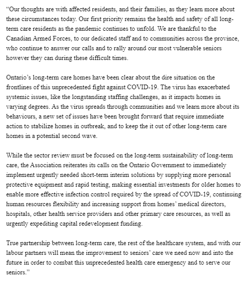 UPDATE: Donna Duncan, CEO of the Ontario Long Term Care Association, has issued a statement after a military report today described unsanitary and disturbing conditions involving understaffing and neglect at 5 Ontario care homes hit hard by the COVID-19 outbreak: