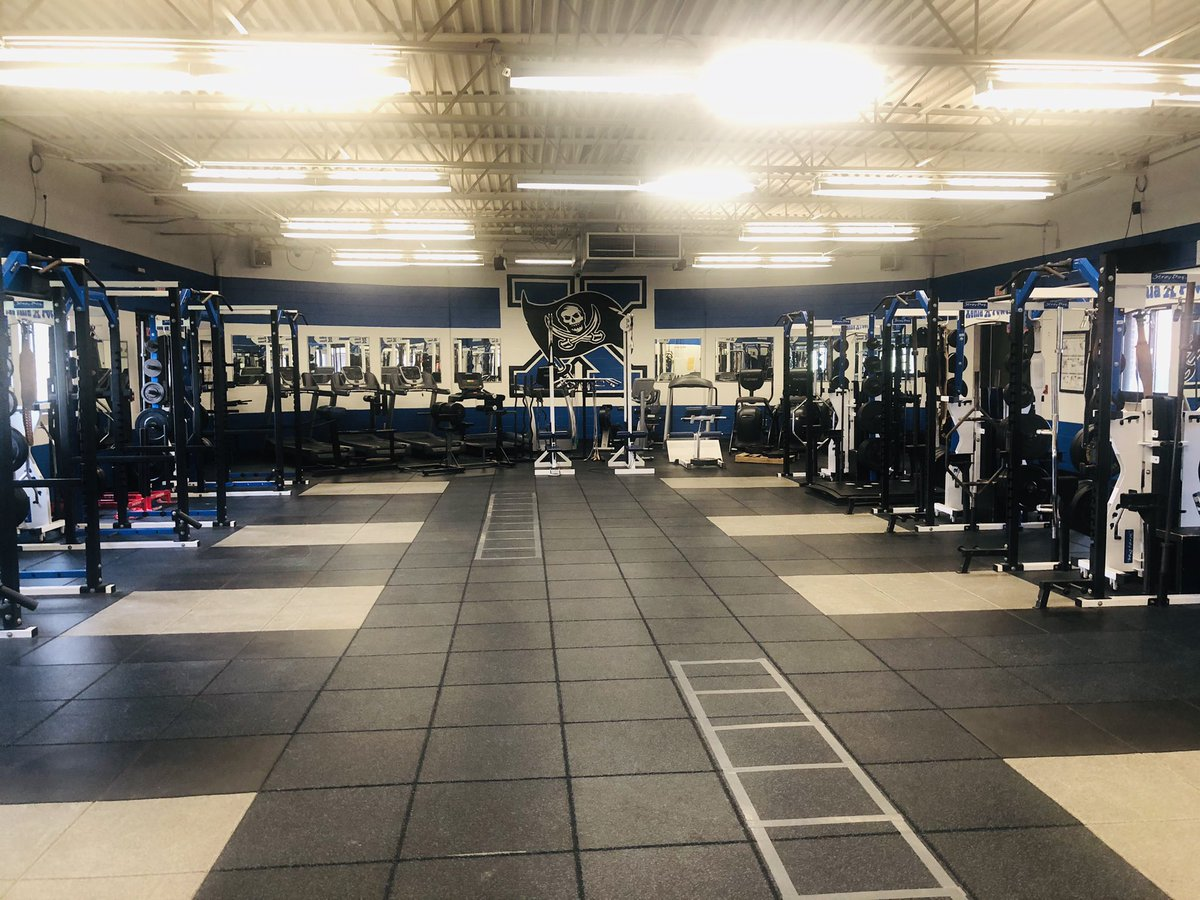 Lighting project is complete in the Doug Adams Fitness Center! Much brighter! Can't wait for our student-athletes to be back in here very soon! @XeniaSchools