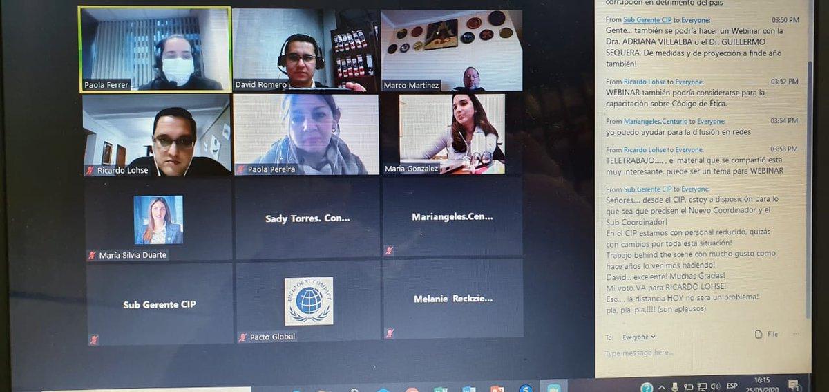 En modo virtual, cumplió su primera reunión del año la Mesa Anticorrupción de la Red del Pacto Global Paraguay a nivel nacional, de la cual el gobierno deptal. de #Itapúa participa activamente. En la ocasión, se presentaron los logros del año 2019 y los desafíos para el 2020. pic.twitter.com/1vvEsNaQdY