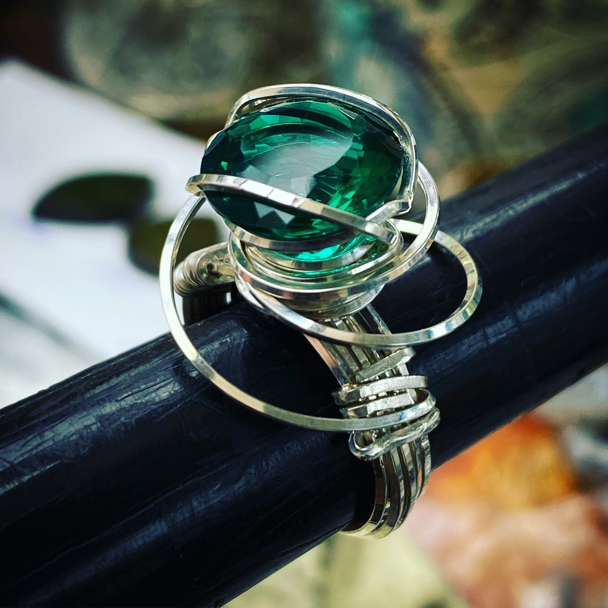 Beautiful New Rose Ring for a client. 9 carat Emerald Obsidianite from Mt. St. Helens set in Sterling Silver. #beautiful #original #jewelry #handmade #in #lagunabeach #art #is #life #May #gem #go #green #glam #fashion #makeastatement #grateful #art #is #life https://t.co/qgRIAwX984
