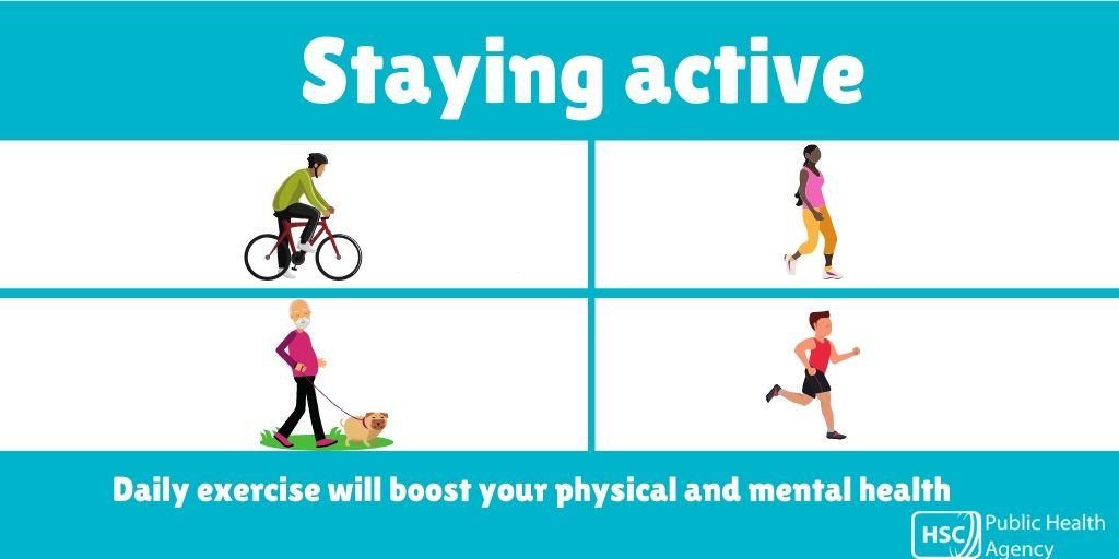Taking part in daily exercise outside is a chance to get some fresh air and have some fun. If you can, try to get out for some exercise – a walk, run or cycle. Remember to maintain social distancing when exercising. #stayactive #COVID19 #coronavirus