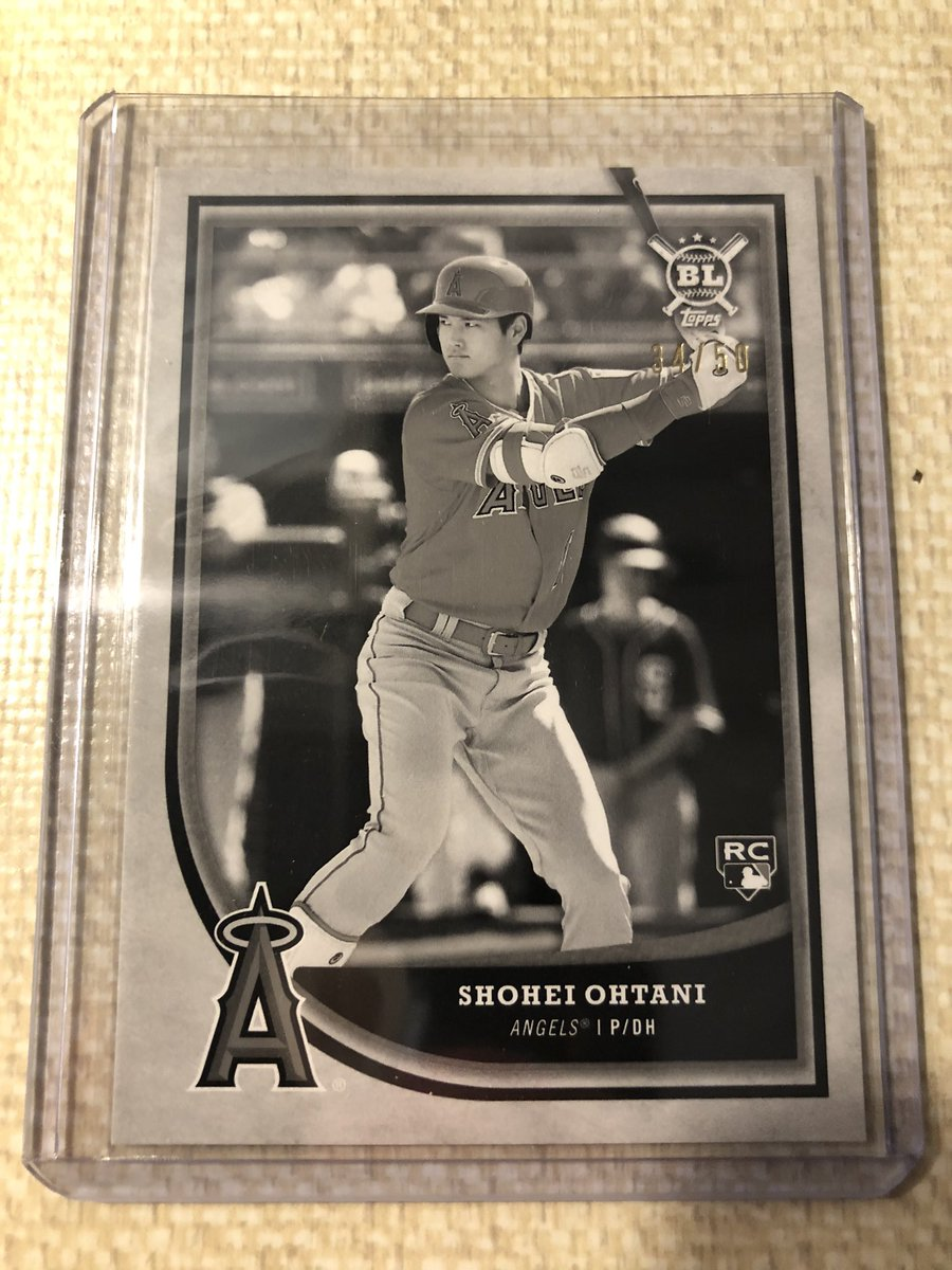 Let's try this again except not forgetting to add the @OnReplin tag: 2018 Topps Big League Shohei Ohtani Rookie Black and White parallel numbered #34/50: $20 shipped with tracking and bubble mailerpic.twitter.com/H0Ktsh49C7