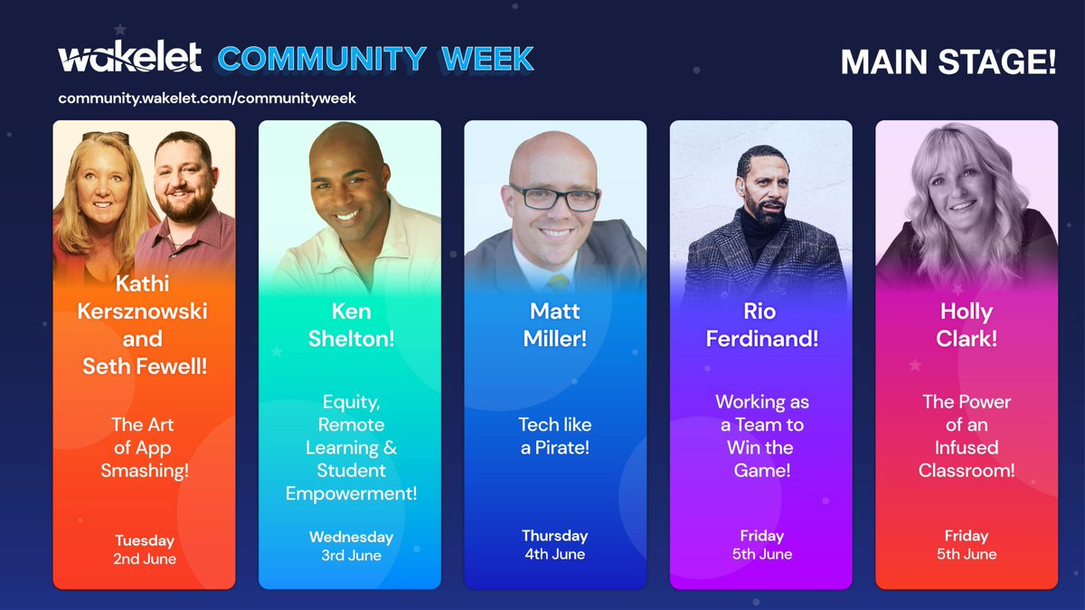 🤩The Main Stage is set!🤩 Were thrilled this awesome line-up of expert speakers will be joining our Community Week celebrations💯🎆 Register for Main Stage sessions right here! community.wakelet.com/communityweek/ #WakeletWave