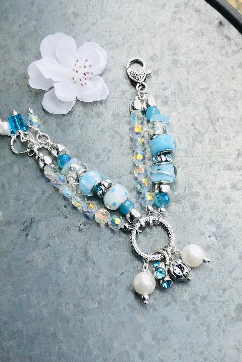 Excited to share this item from my #etsy shop: Blue polka dot bracelet, boho charm bracelet, gift for her, chunky bracelet, pearl bracelet #blue #pearl #polkadot #bohobracelet #handcrafted #jewelry #charmbracelet