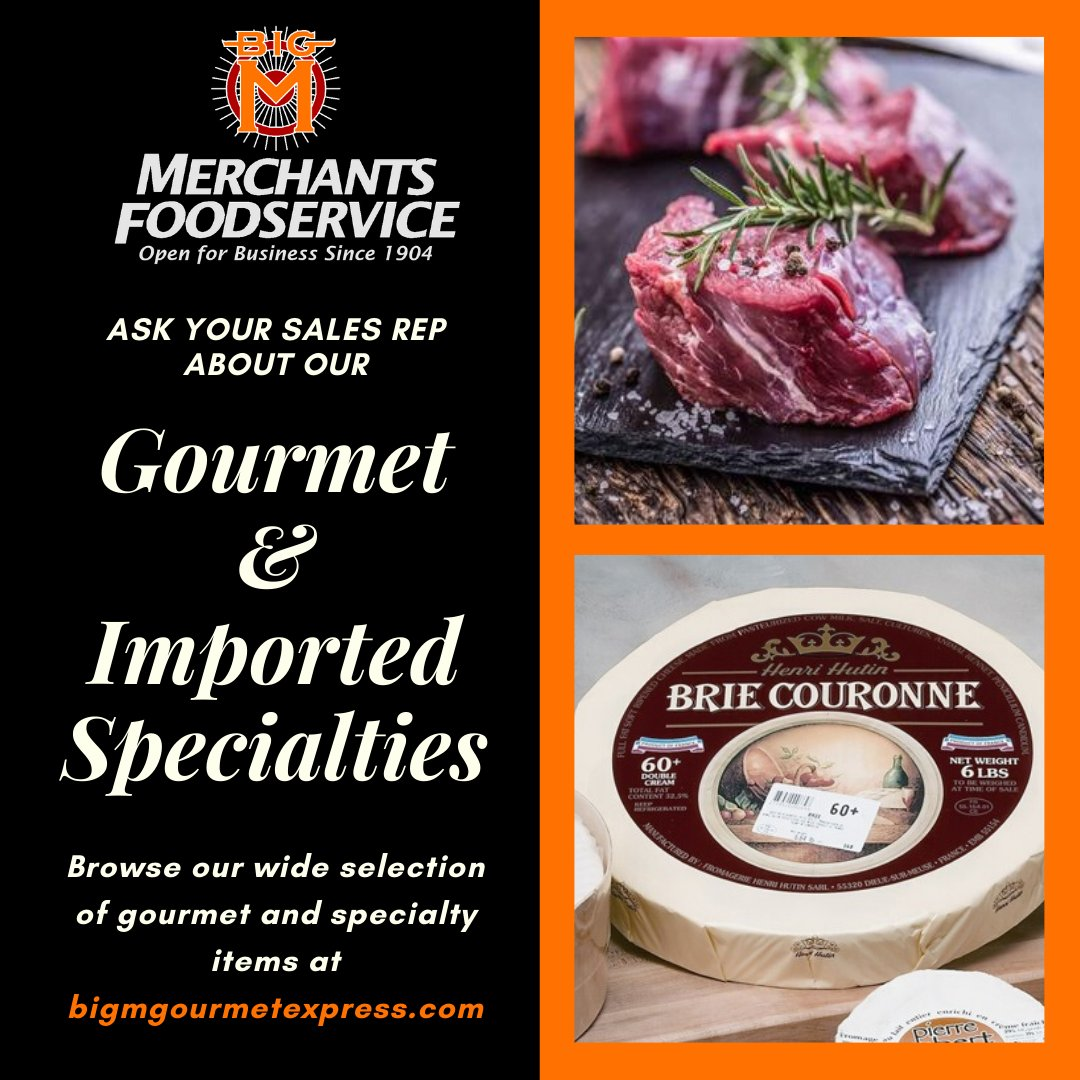Set yourself apart from the competition with some exotic additions to your menu! From Alligator and Elk to Calamari and Brie Cheese, we have everything you need to be the talk of the town. Ask your sales rep for more info and visit http://bigmgourmetexpress.com  #BigM #Gourmet #Menupic.twitter.com/BZJUc6VwQR