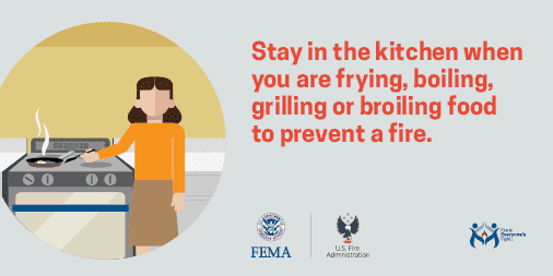#Cooking fires are the number one cause of home fires & home fire injuries. Fires start when the heat is too high. If you see smoke or grease starts to boil, turn the burner off. Use a pan lid or baking sheet to cover the pan if it catches on fire. This will put out the fire. pic.twitter.com/Mi4pVVZx3t