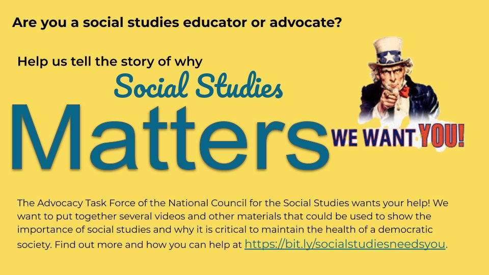 Are you a social studies educator or advocate? Help tell the story of why social studies matters. Find out more and how you can contribute at bit.ly/socialstudiesn…. #sschat @CivicsEdNet @socialstudiestx @madisonteacher @daneels_m @SocStdHI @CUFANCSS @nsssasocstudies