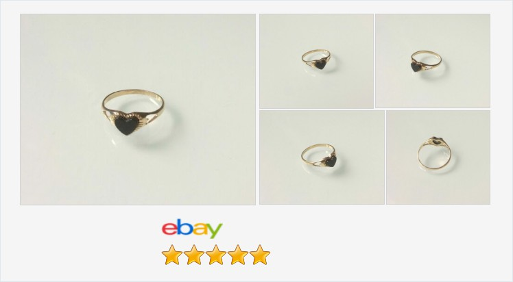 Brand New 9ct gold and black onyx childrens heart ring E - K | eBay #9ct #gold #childrens #babies #black #onyx #heart #ring #jewellery #finejewelry #gifts #cute #giftideas #giftsforher #onlineshopping #jewelry #accessories #jewelrylover #jewelryaddict