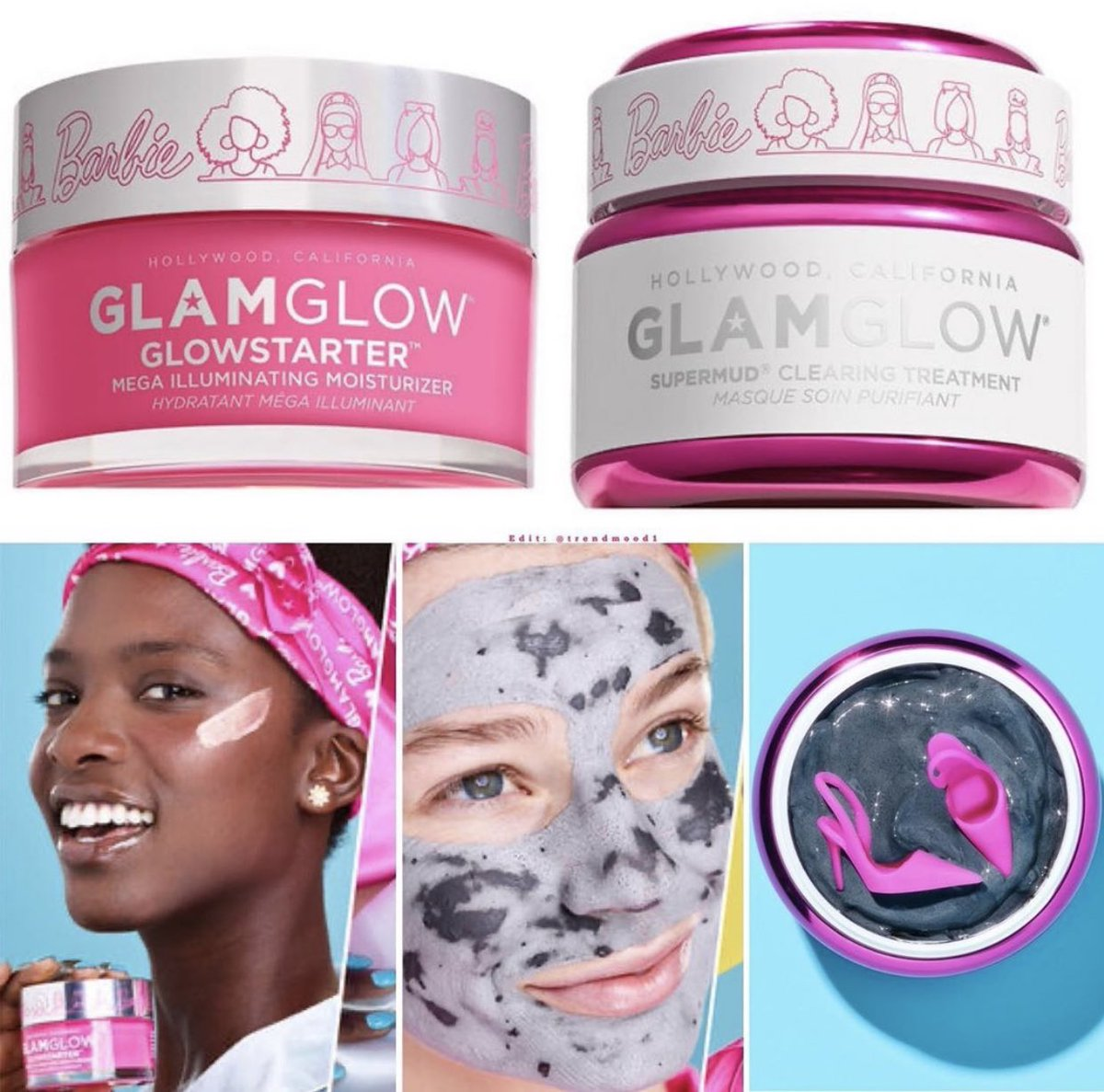 #REVEALED  NEW! Collaboration with #BARBIE #LimitedEdition packaging @glamglow X @Barbie  #BarbieXGlamglow Includes:  1. SUPERMUD Clearing Treatment Mask  2. GLOWSTARTER Mega-Illuminating Moisturizer  Online   JUNE 1STpic.twitter.com/Xc26elsFAs