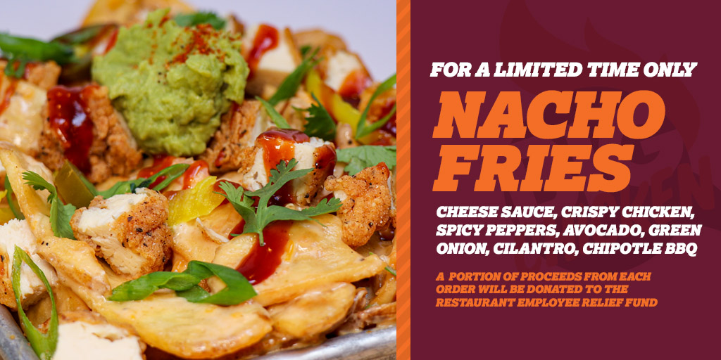 Gettin' ready to judge Nacho Average Showdown supporting @NRAES on @FoodNetwork's FB and decided to throw myself in the ring too. Introducing @BigChickenShaq's Nacho Fries! Available for a limited time. Portion of proceeds will be donated to the Restaurant Employee Relief Fund.