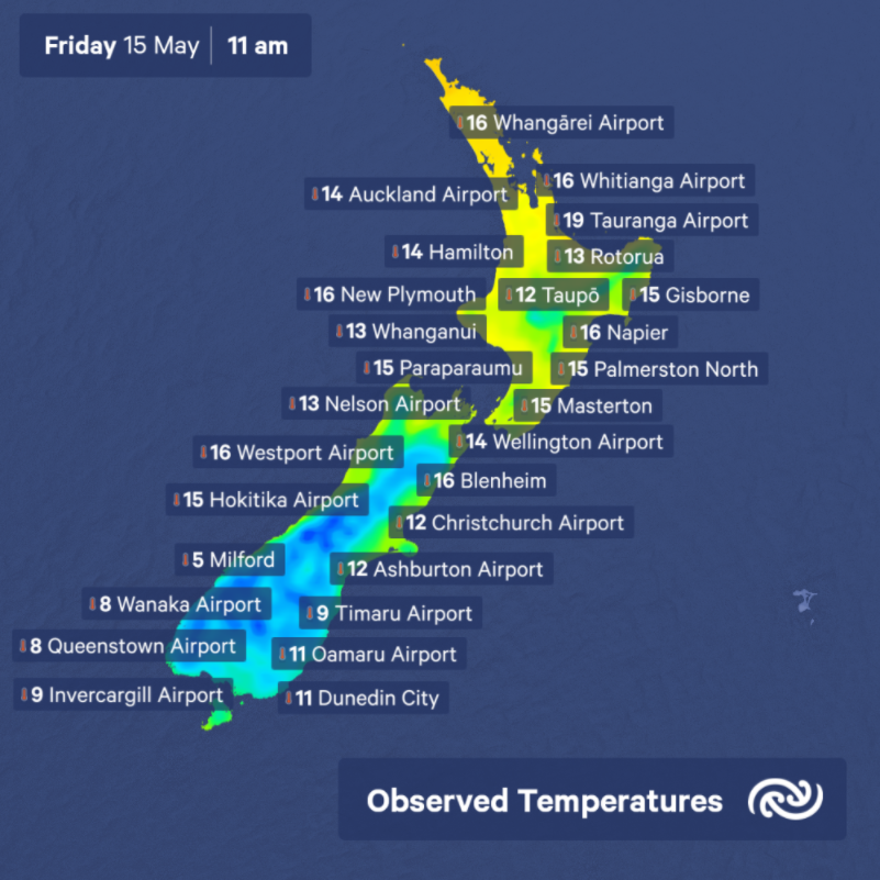 Warming up around Aotearoa, but temperature in the capital has dropped a couple of degrees in the last hour as winds have shifted southerly here in Wellington. bit.ly/metservicenz ^AJ