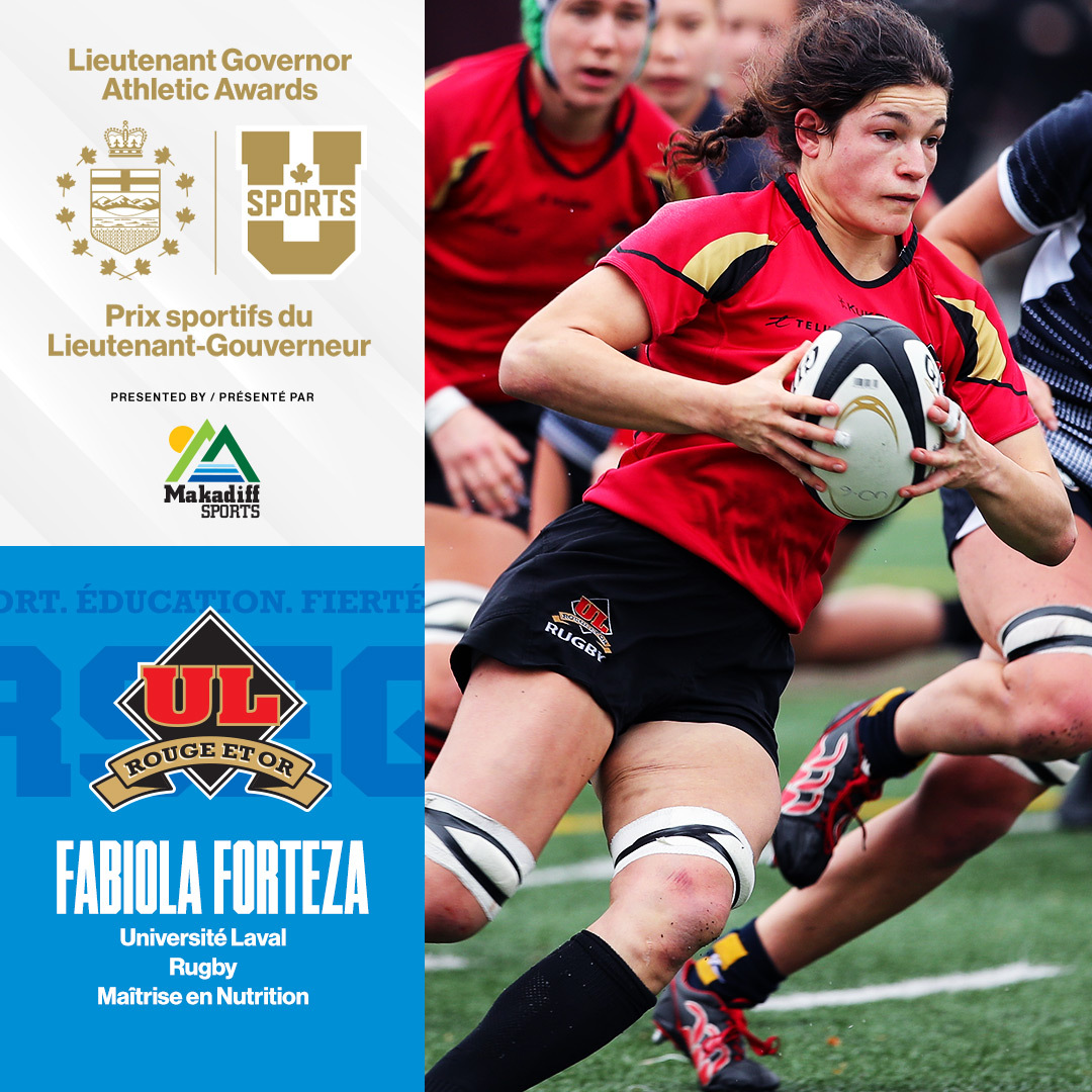 Congratulations to @universitelaval student-athlete, Fabiola Forteza, on becoming a finalist for the Lietuenant Governor Athletic Awards! In 2019, Forteza was named @USPORTSca Player of the Year 👏 🙌 Learn more about the awards here: bit.ly/361DgqQ #RugbyCA 🏉🇨🇦