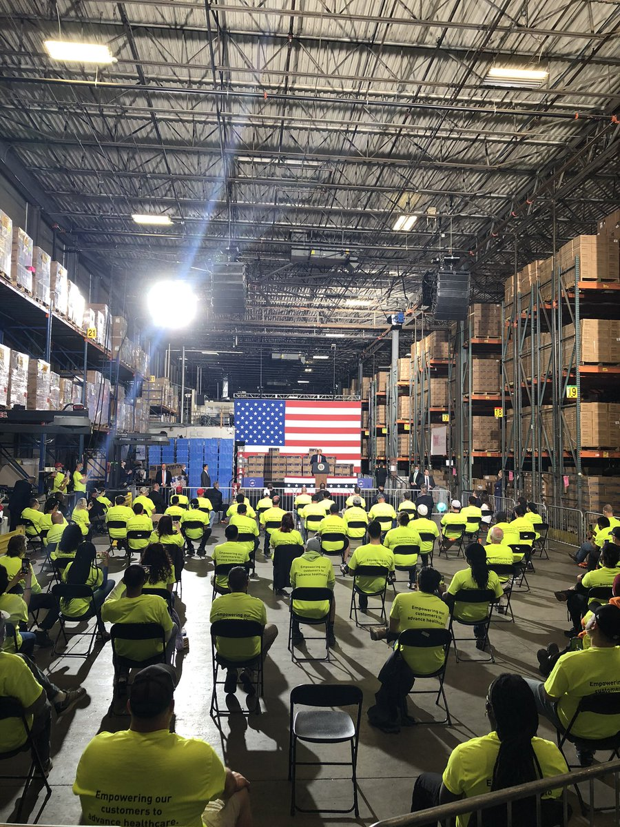 """Currently traveling w/ the President as he delivers remarks to workers at a PPE distribution facility in Allentown, PA.   The @TeamTrump playlist was blaring before he started speaking (including """"Macho Man"""" and """"Billy Jean""""), and he criticizes the press """"back there"""". https://t.co/h1AtNnoxgr"""