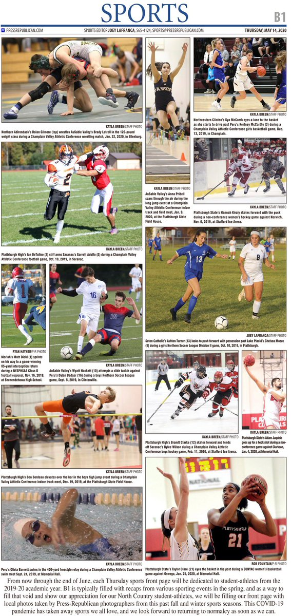 Every Thursday through the end of June, @pressrepublican sports front pages will be filled with local photos from the 2019-20 academic year to show our thanks to North Country student-athletes and help fill the void of having no spring sports season. Here is today's cover. https://t.co/AmNtHVYyRG