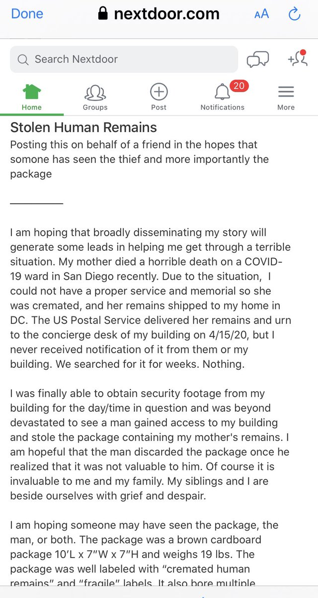 This is the most horrific porch pirate story ever posted. Just now on Nextdoor. Horrible.