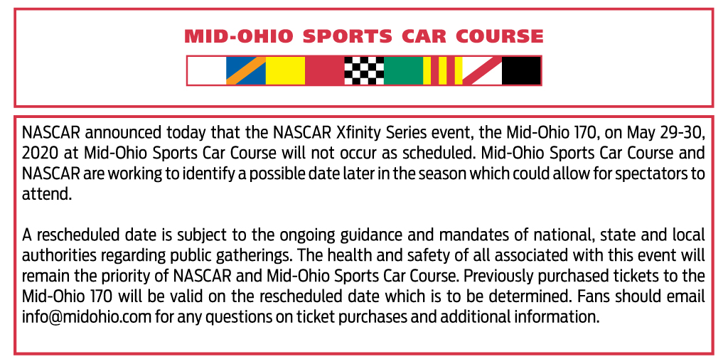Official Statement on the Mid-Ohio 170 NASCAR Xfinity Series Event:
