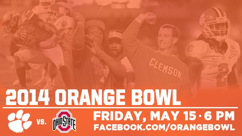 Tune-in live on Facebook tomorrow evening as we re-air a directors cut of the exciting 2014 Orange Bowl between @ClemsonFB and Ohio State! 🍊🏈 💻: bit.ly/35YNmJj
